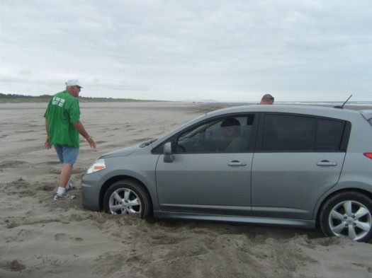 Don't drive on the beach. Might not be some old Idaho guy to round up a crew to help push you out.