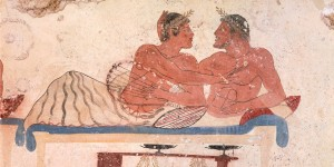 Symposium scene, circa 480-490 BC, decorative fresco from north wall of Tomb of Diver at Paestum, Campania, Italy, Detail of so-called lovers, 5th Century BC