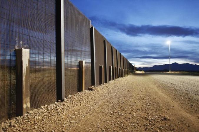 The Arizona-Mexico border fence near Naco