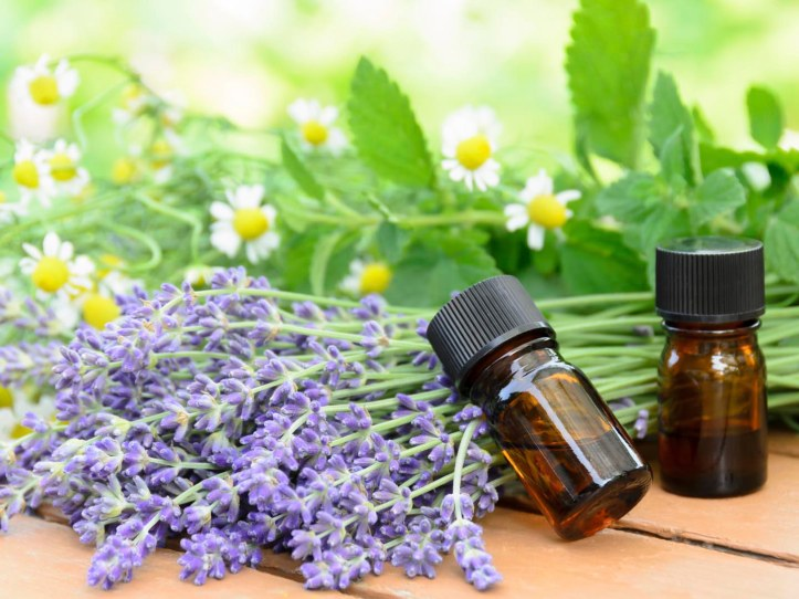 aromatherapy treatment with herbal flowers